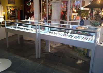 White Jewelry Showcases with Tapered Legs