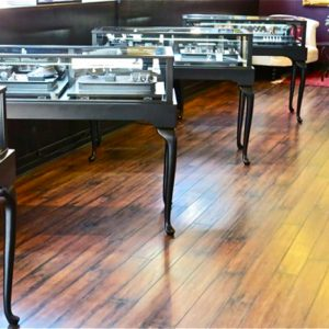 Custom black wood display cases for a jewelry store