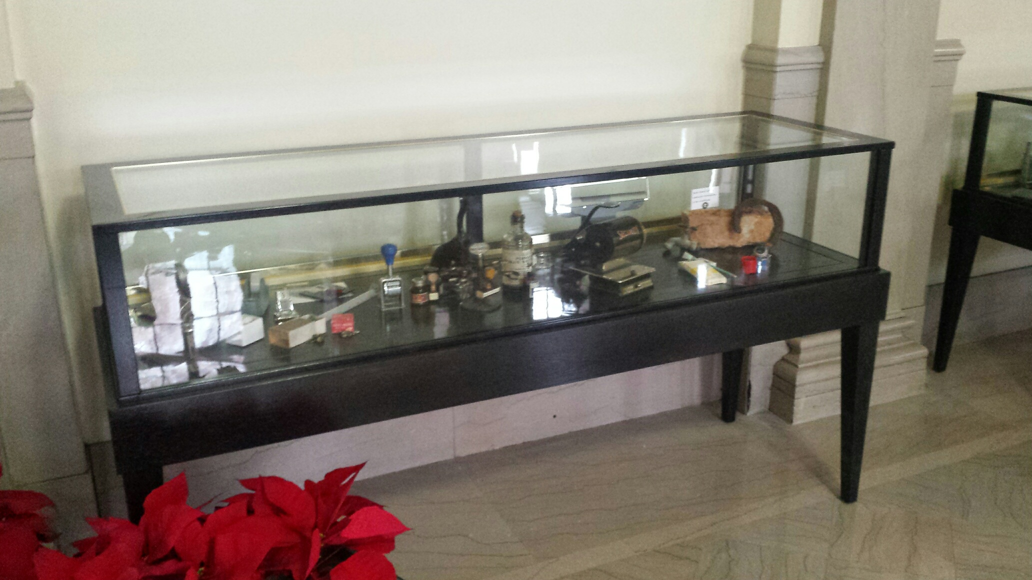 Black Tapered Leg Museum Display Case