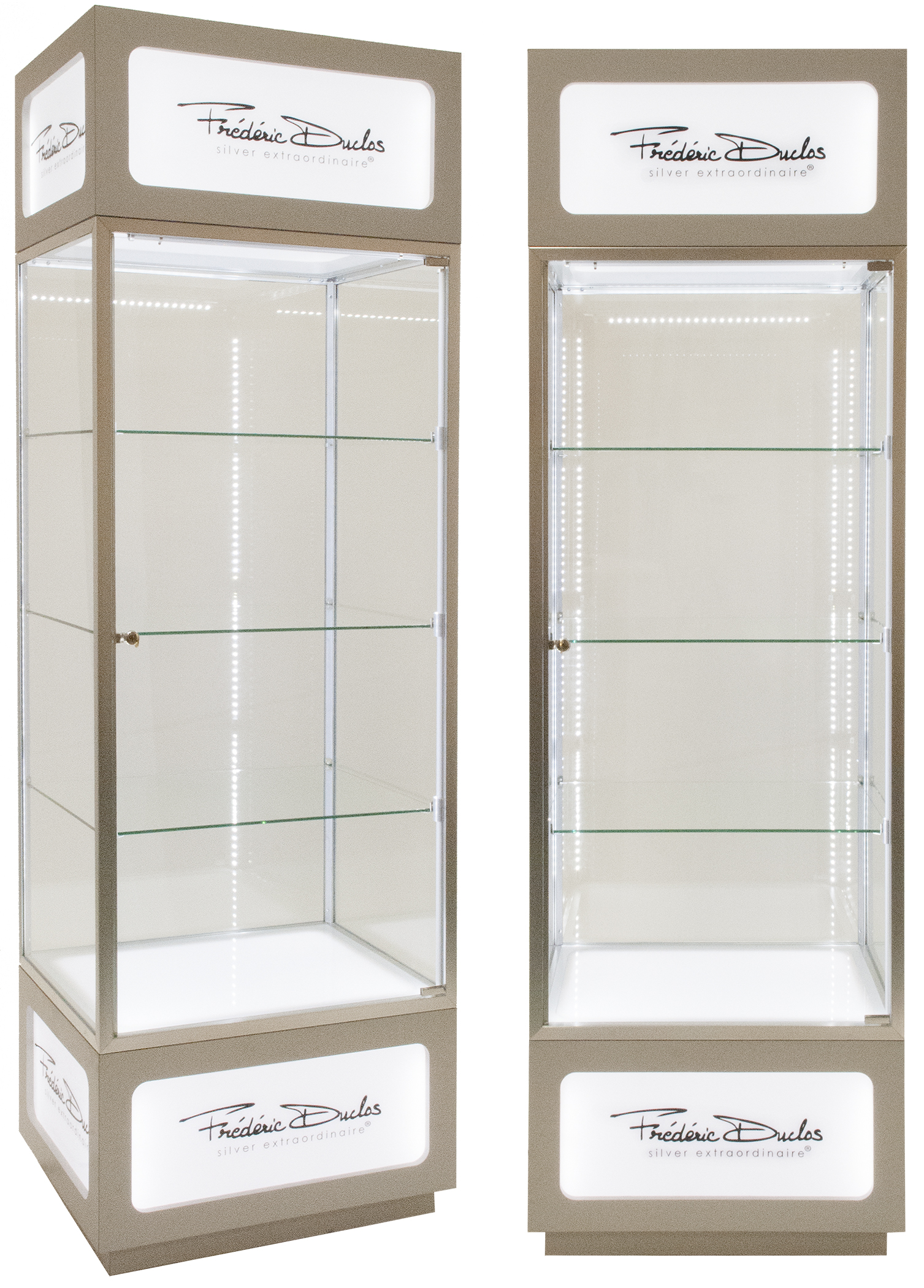 Illuminated Product Display Case Tower
