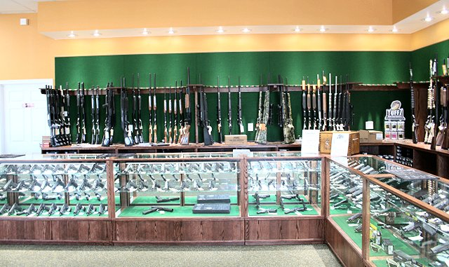 Locking glass and wood display cases for gun stores
