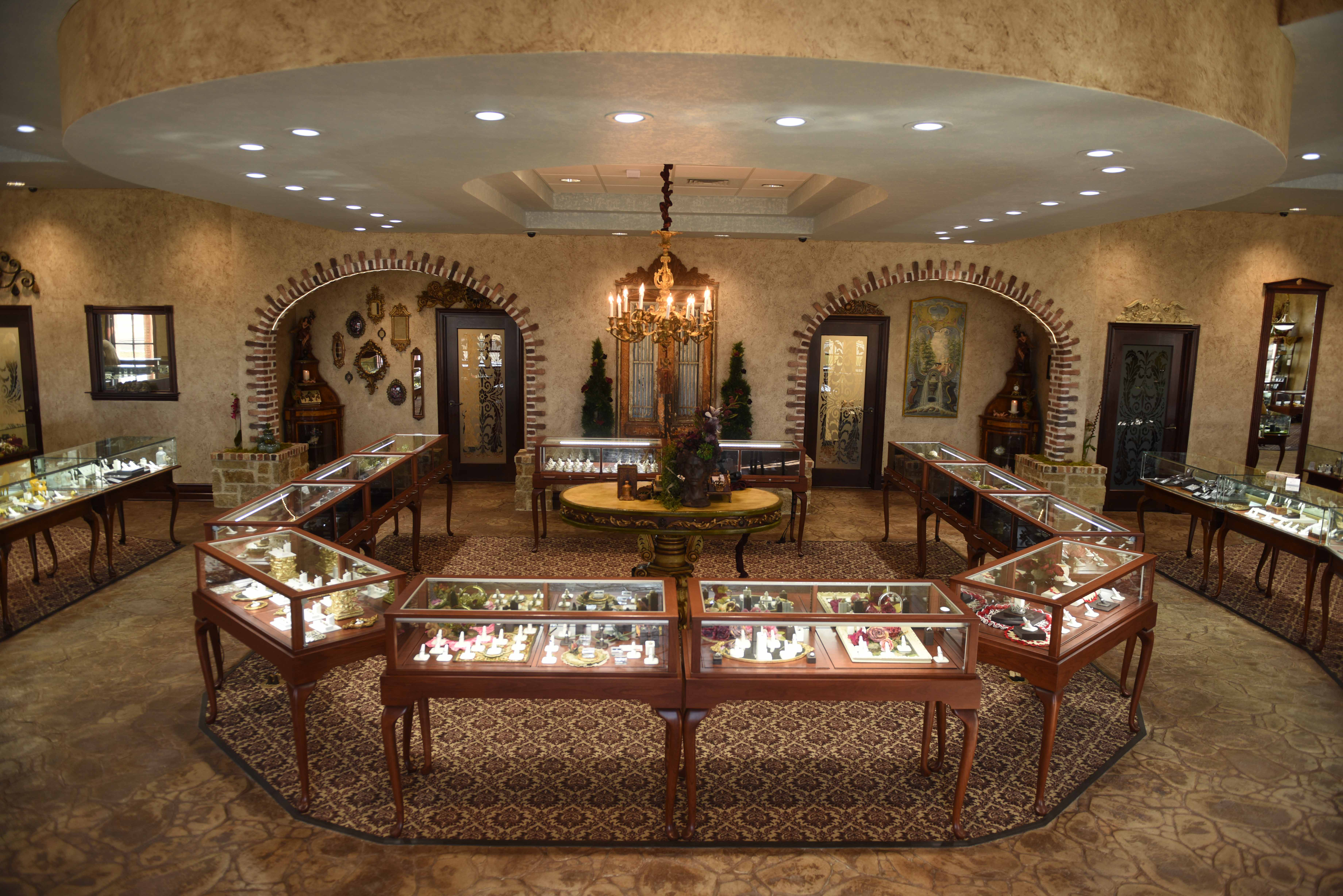 Queen Anne Wooden Jewelry Display Cases in store