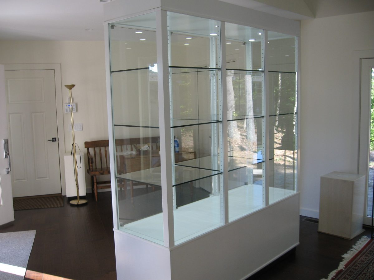 White Artifact Display Case Tower