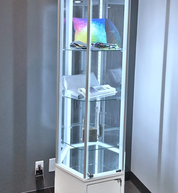 Contemporary Hexagon Display Tower with Storage For FujiFilm North America Corporation