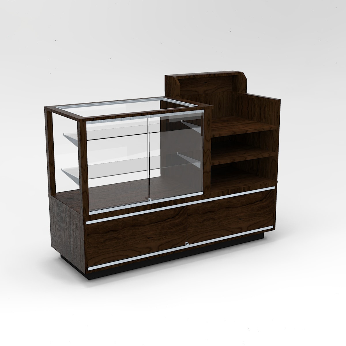 Full Vision Contemporary Cash Wrap Display Case To Purchase