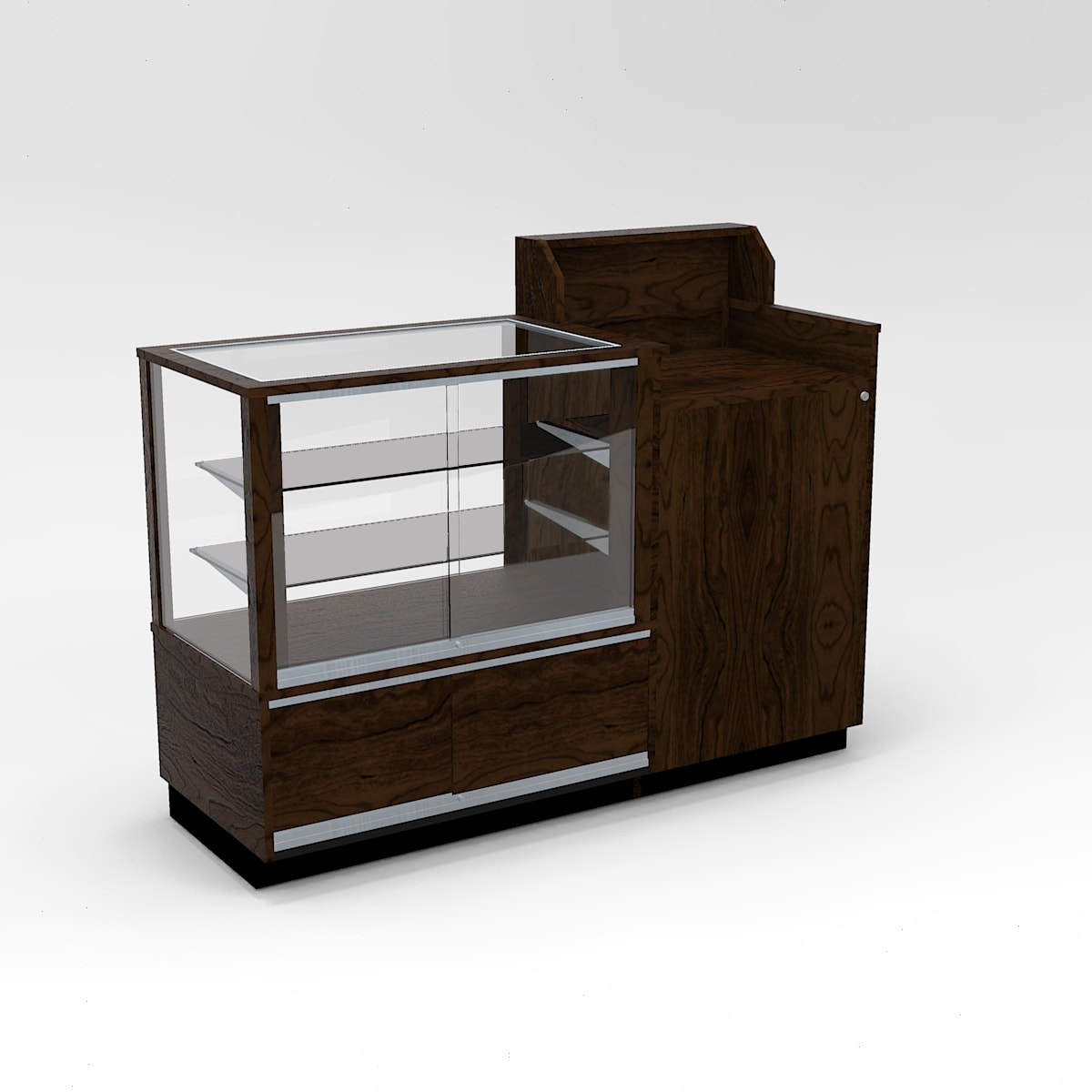 60 Inch Full Vision Contemporary Cash Wrap Display Case To Purchase