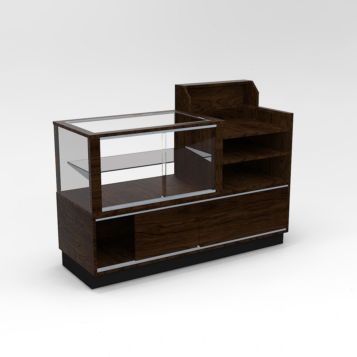 Half Vision Contemporary Cash Wrap Display Case To Purchase