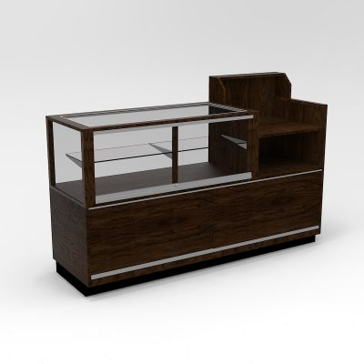 72 Inch Half Vision Contemporary Cash Wrap Display Case To Purchase