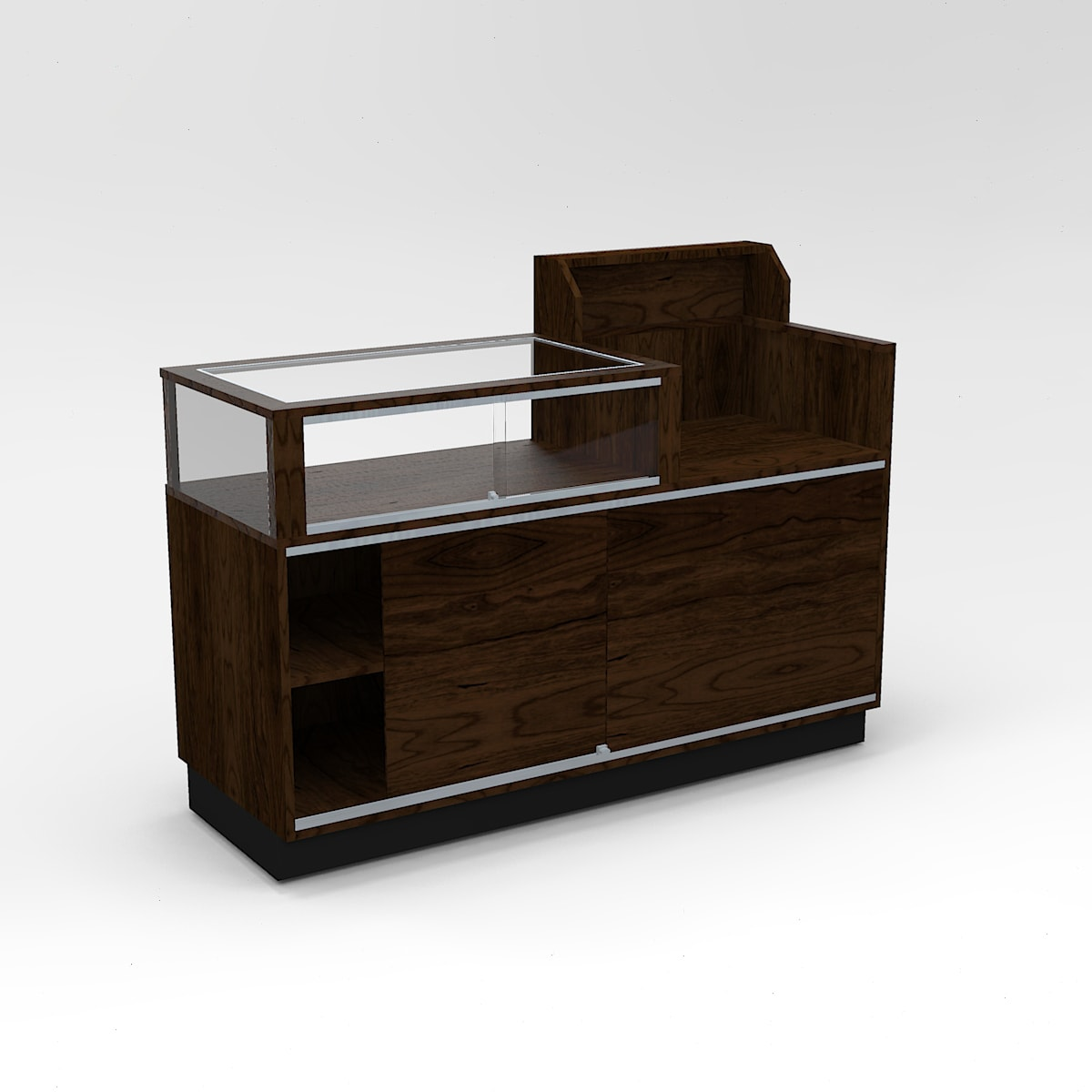 Back View of a Jewelry Vision Contemporary Cash Wrap Display Case To Purchase