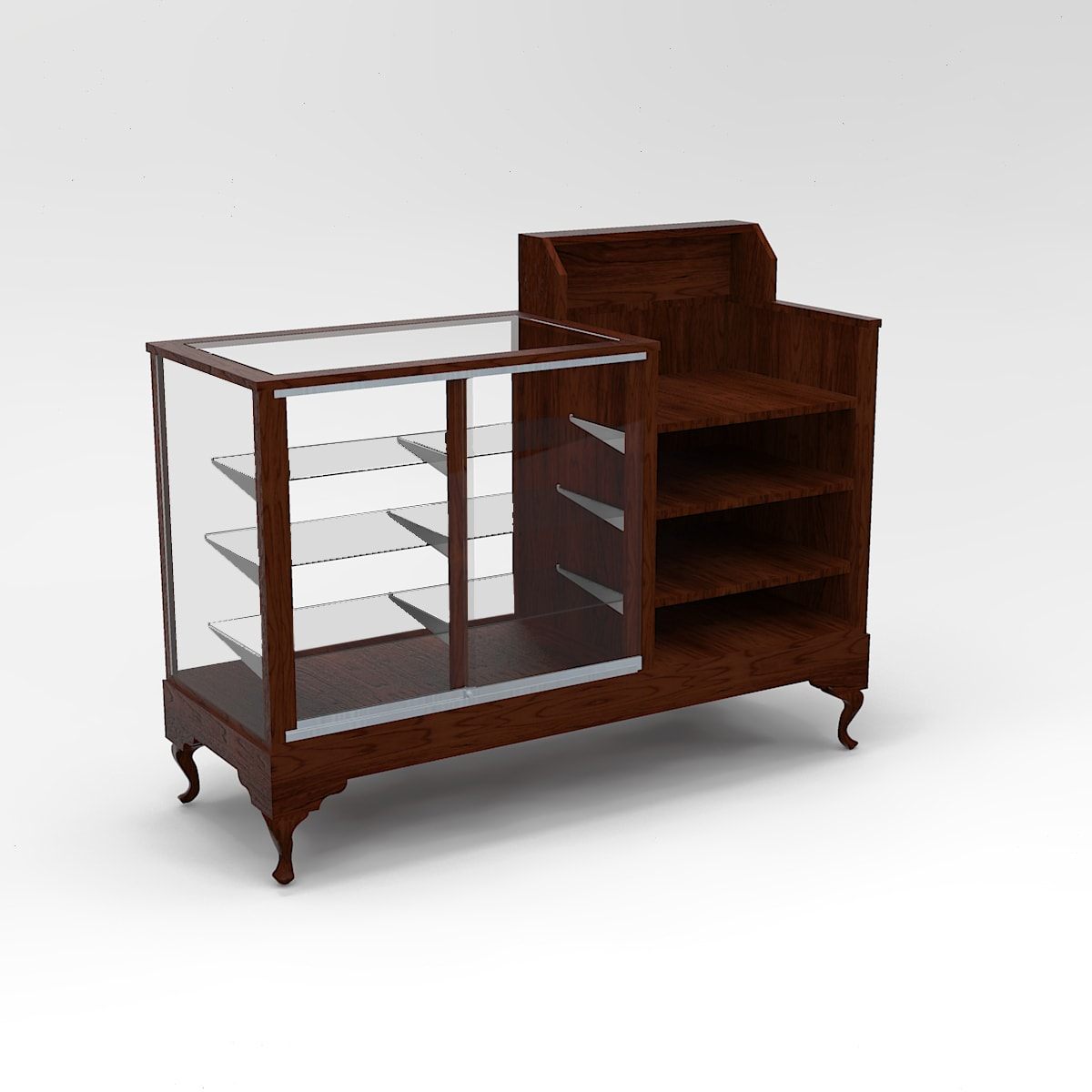 60 inch Extra Vision Queen Anne Leg Cash Wrap Display Case To Purchase