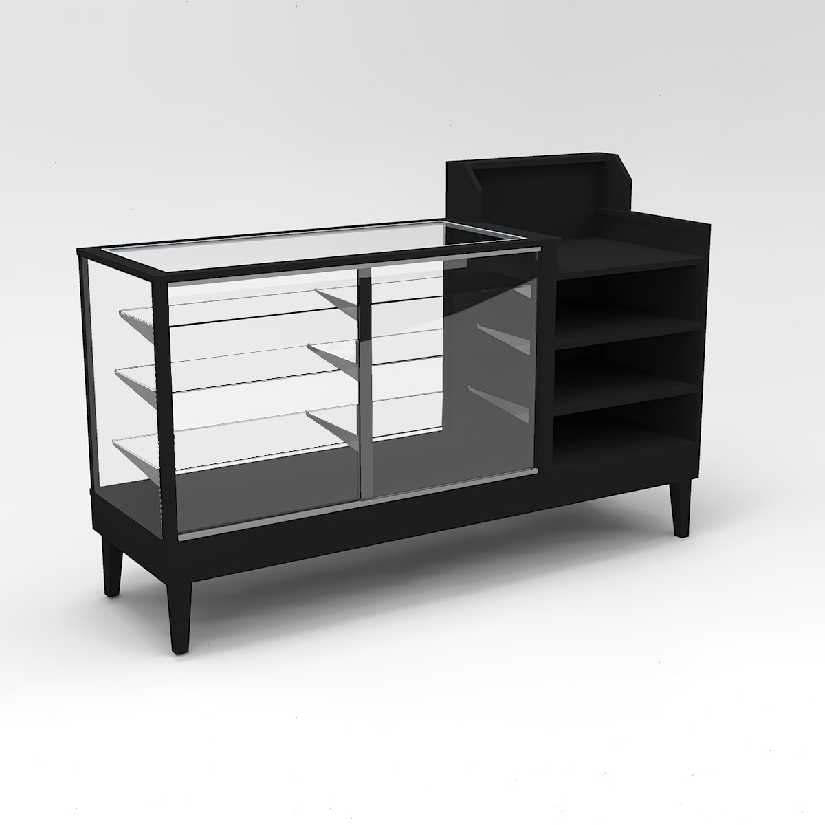 72 Inch Extra Vision Tapered Leg Cash Wrap Display Case To Purchase