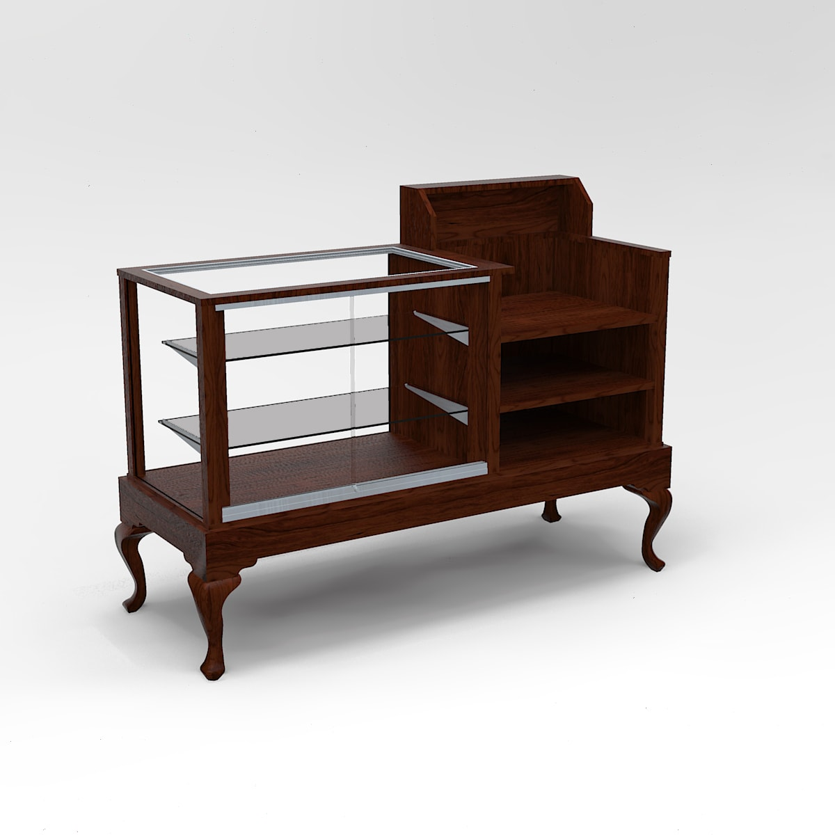 60 Inch Full Vision Queen Anne Leg Cash Wrap Display Case To Purchase