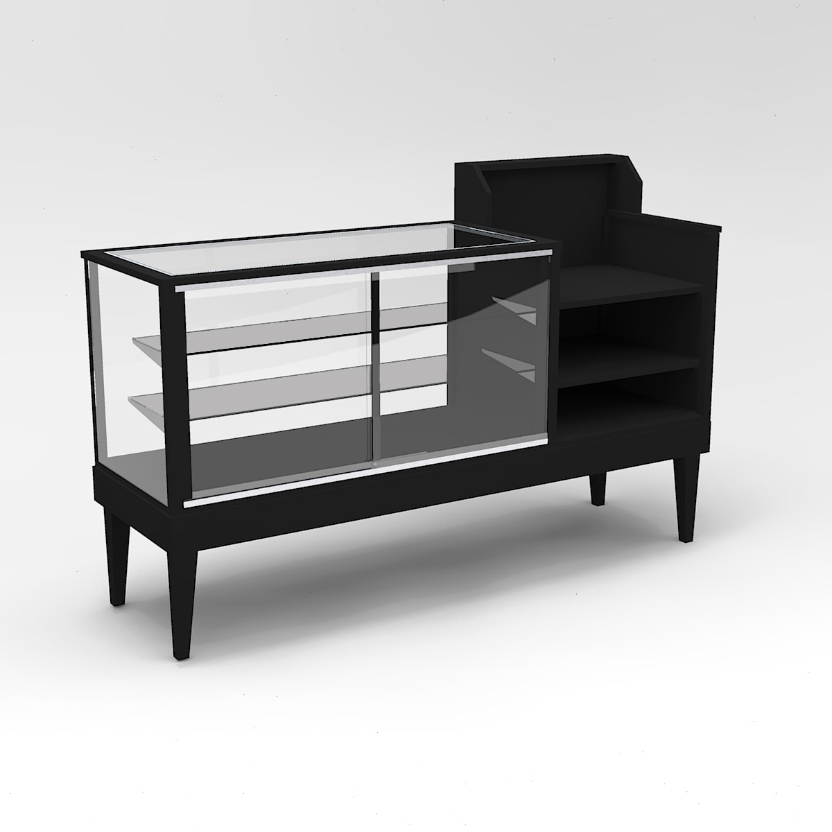 60 Inch Full Vision Tapered Leg Cash Wrap Display Case To Purchase