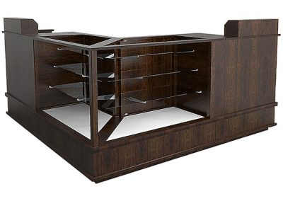 Extra Vision Classic Island Grouping With Two Register Stand With Wood Counter