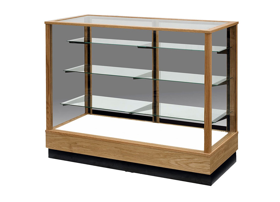 Extra Vision Contemporary Rectangle Horizontal Display Case Made with Red Oak