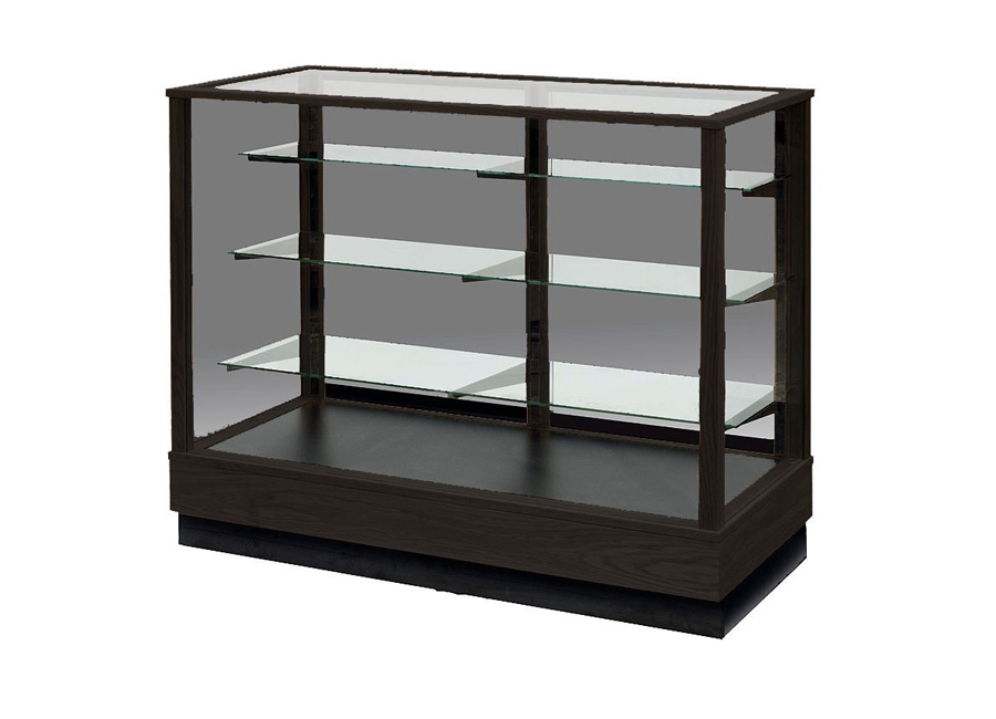 Extra Vision Contemporary Rectangle Horizontal Display Case Made with Espresso Stain