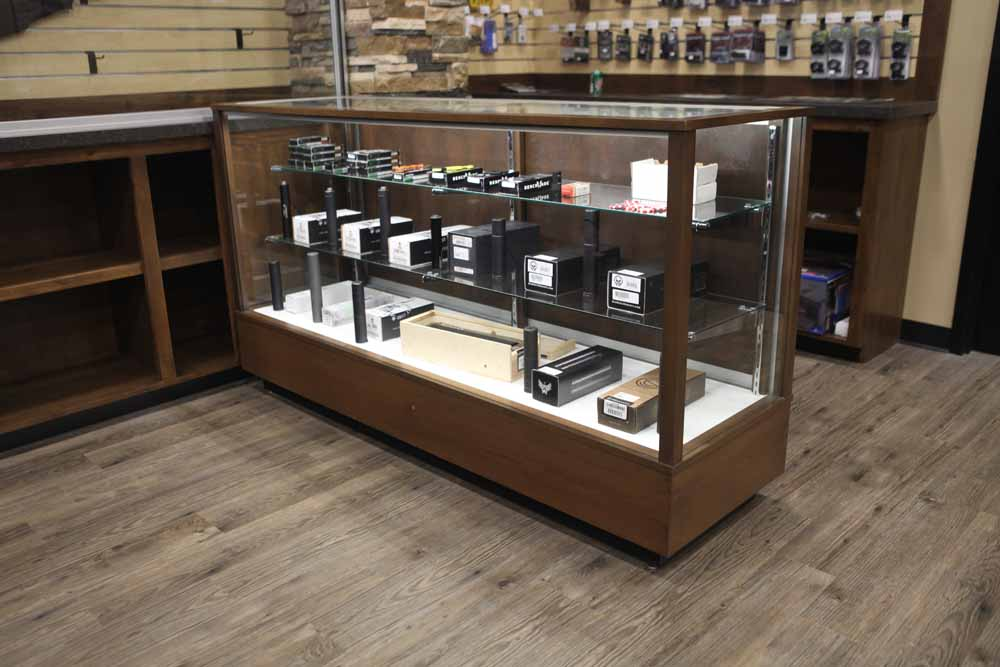 Extra Vision Classic Rectangle Horizontal Display Case Custom Made For A Gun Store