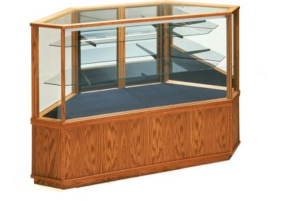 Full Vision Classic Corner Display Case With Storage And Outside Corner Configuration In Golden Pecan