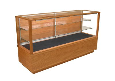 Full Vision Classic Rectangle Horizontal Display Case With Wood Sliding Doors