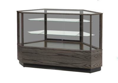 Full Vision Contemporary Corner Horizontal Display Case With Base Storage And Outside Corner Configuration In Ebony