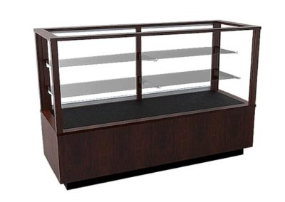Full Vision Contemporary Rectangle Horizontal Display Case With Sliding Glass Back Doors And Base Storage