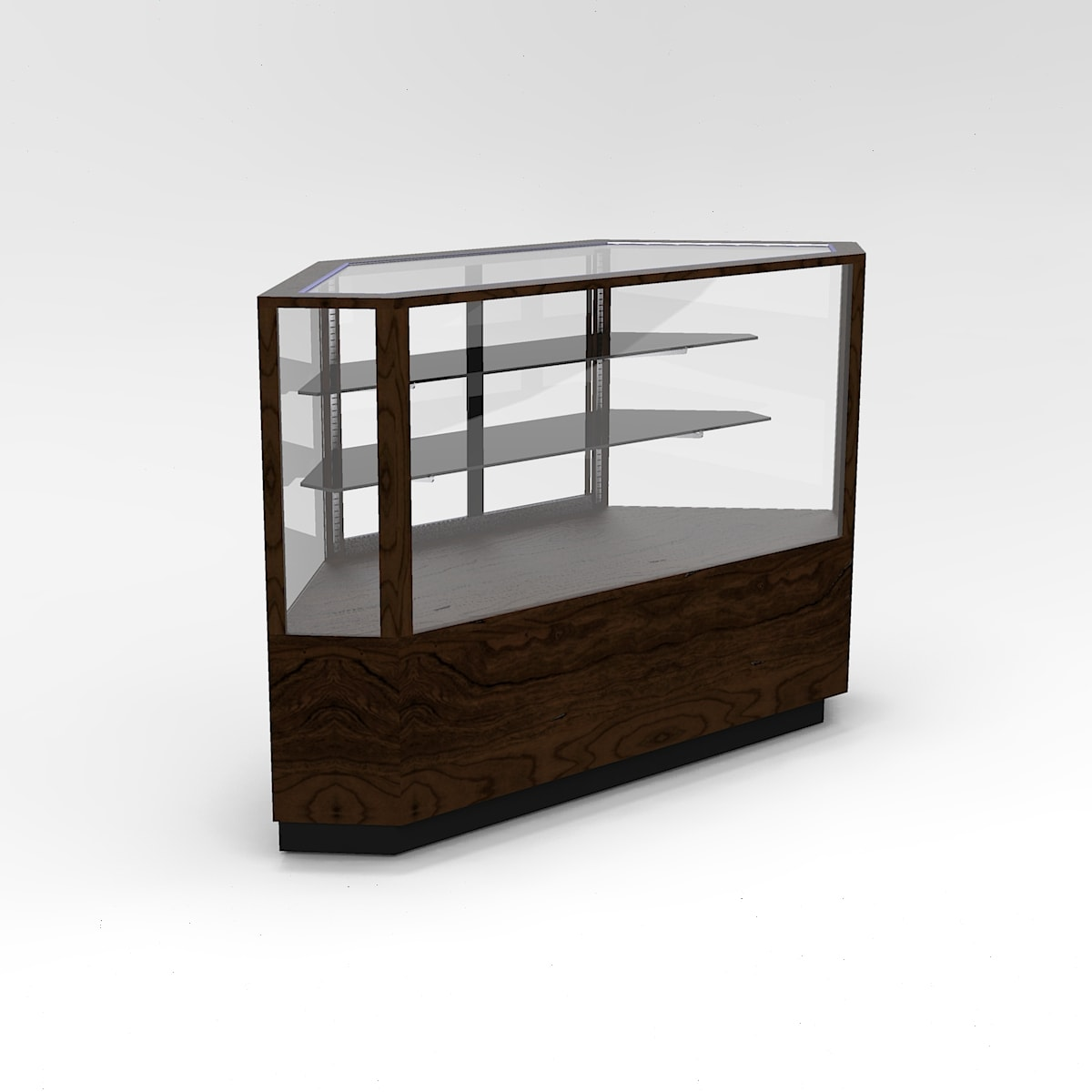 60 Inch Full Vision Contemporary Outside Corner Horizontal Display Case To Purchase