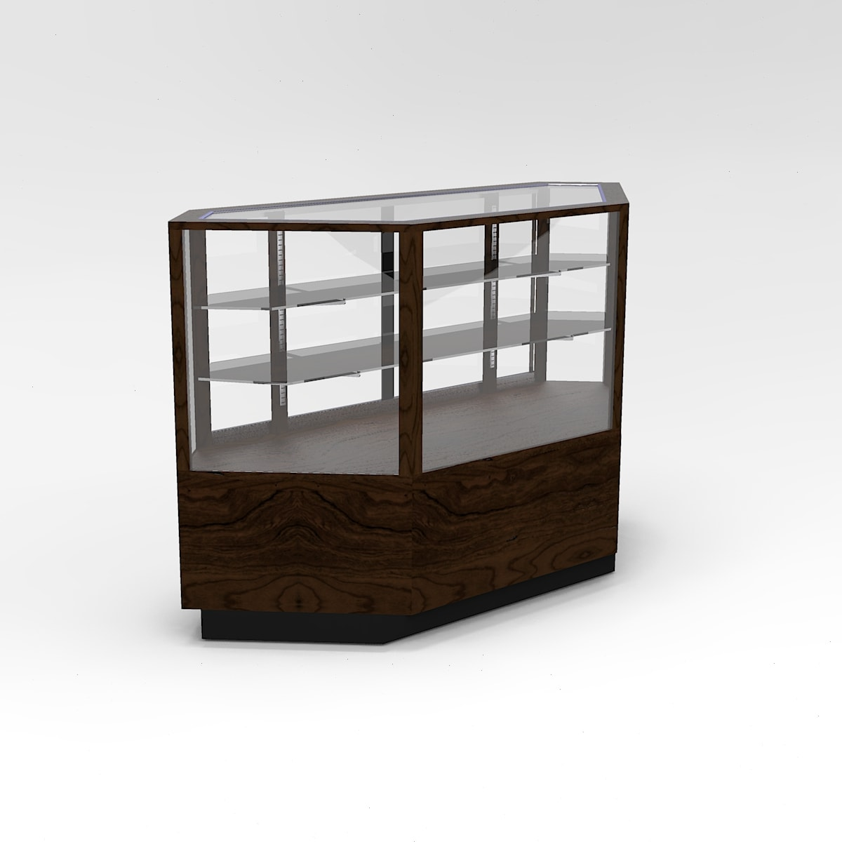 60 Inch Full Vision Contemporary Inside Corner Horizontal Display Case To Purchase