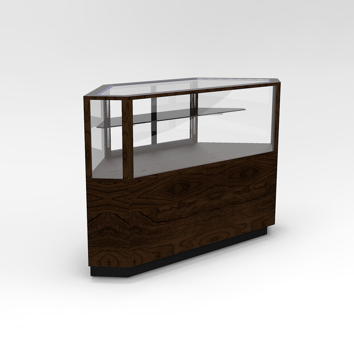 60 Inch Half Vision Contemporary Outside Corner Horizontal Display Case To Purchase