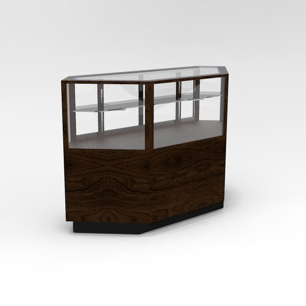 60 Inch Half Vision Contemporary Inside Corner Horizontal Display Case To Purchase