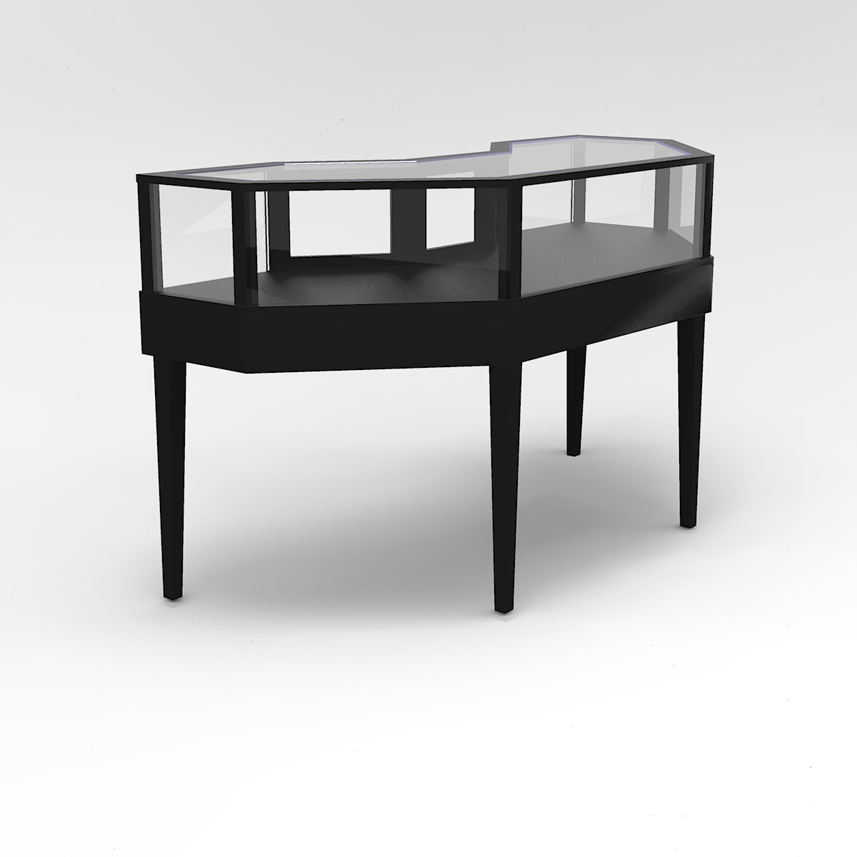 Jewelry Vision Tapered Leg Half Octagon Horizontal Display Case For Jewelry Store to Purchase