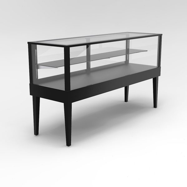72 Inch Half Vision Tapered Leg Rectangle Horizontal Display Case To Purchase