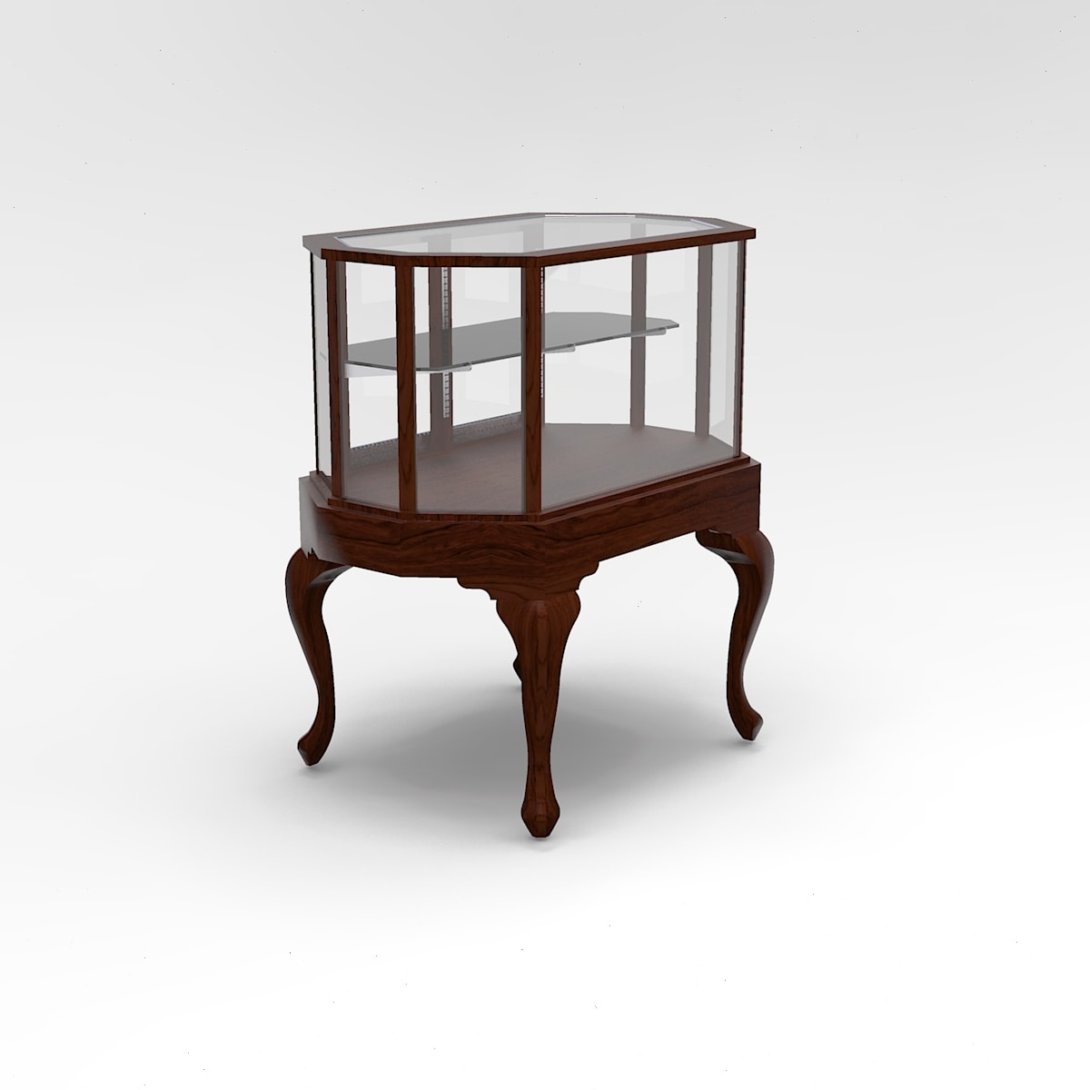 36 Inch Half Vision Queen Anne Leg Octagon Horizontal Display Case to Purchase