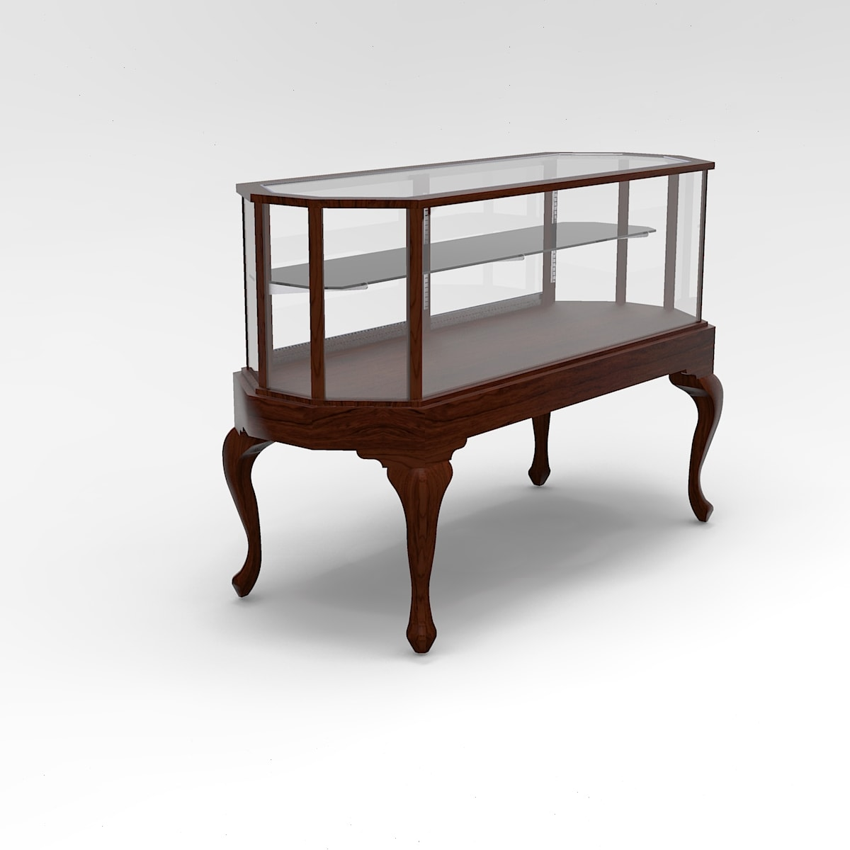 60 Inch Half Vision Queen Anne Leg Octagon Horizontal Display Case to Purchase