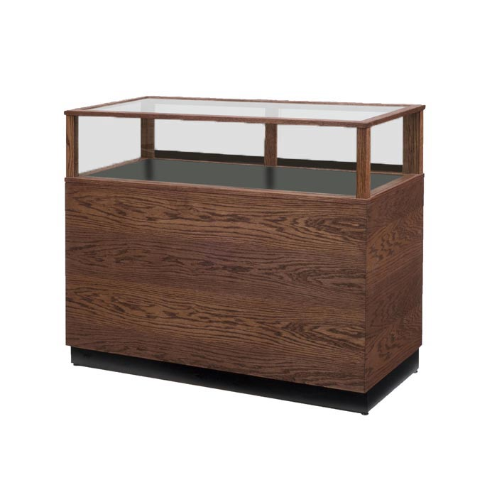 A Jewelry Vision Contemporary Rectangle Horizontal Display Case In Espresso Stain