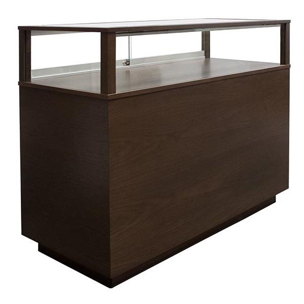 Jewelry Vision Contemporary Rectangle Horizontal Display Case Customized With Mahogany Hardwood