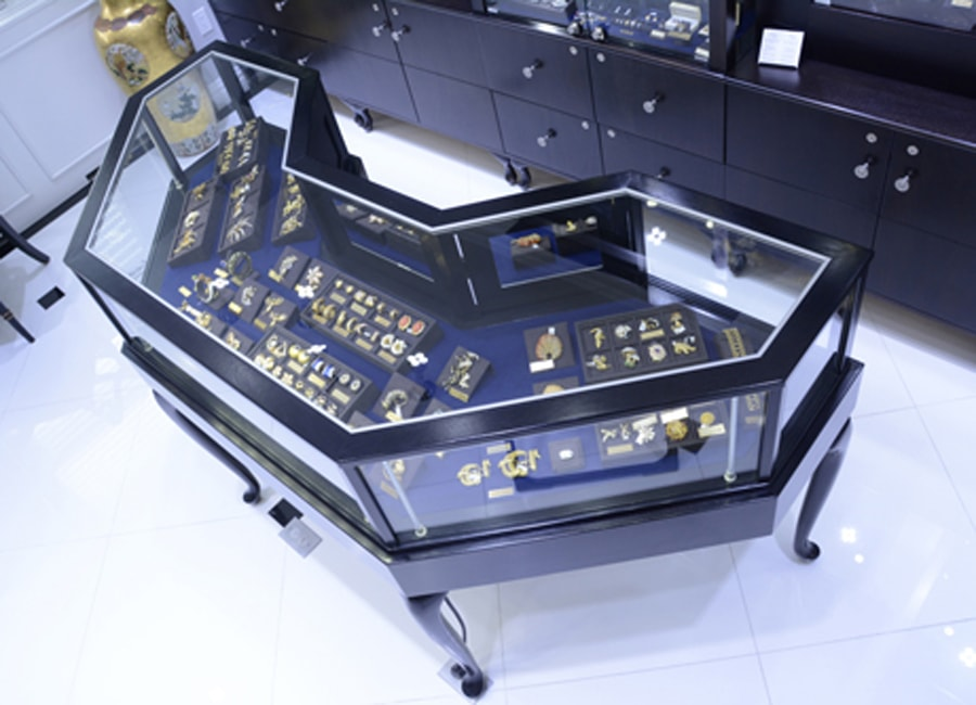 Jewelry Vision Queen Anne Half Octagon Horizontal Display Case Custom made for a high end jewelry store in New York City