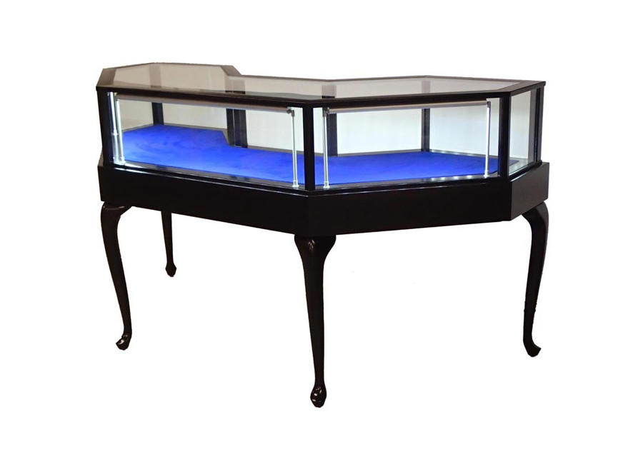 Jewelry Vision Queen Anne Leg Half Octagon Horizontal Display Case Custom Made For A Jewelry Store