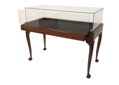 Jewelry Vision Queen Anne Rectangle Horizontal Display Case With Glass-On-Glass Frame, One Pull Out Deck, And Ball-And-Claw Feet