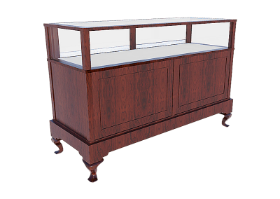 Jewelry Vision Queen Anne Rectangle Horizontal Display Case With Storage And Leg Combo In Cordovan Cherry