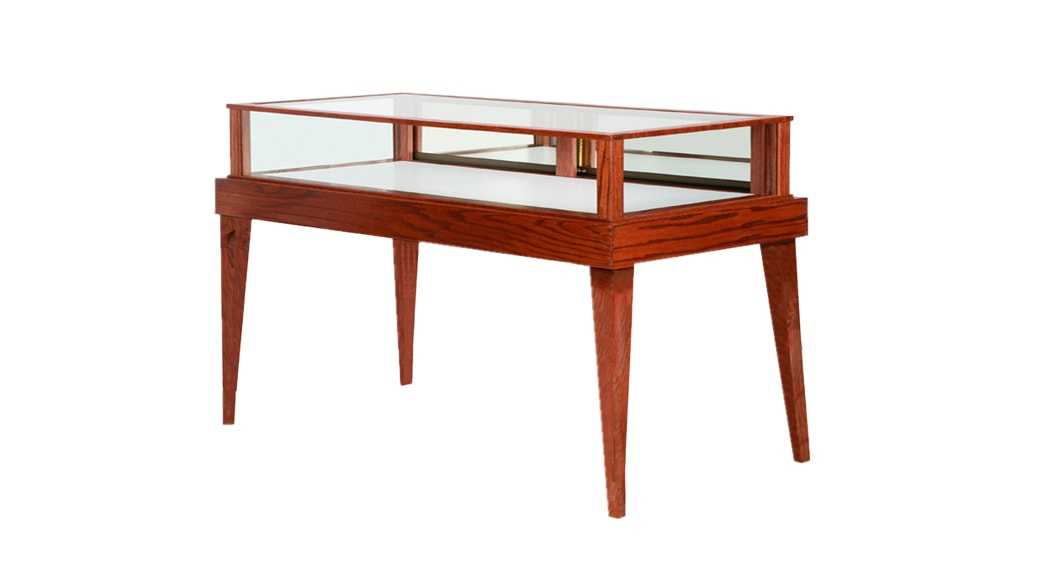 Jewelry Vision Tapered Leg Rectangle Horizontal Display Case Custom Made With Dark Cherry Stain
