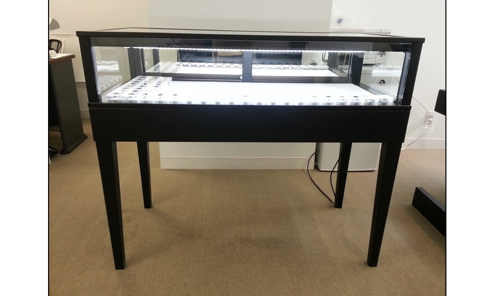 Jewelry Vision Tapered Leg Rectangle Horizontal Display Case Custom Made In Black Lacquer For A Jewelry Store
