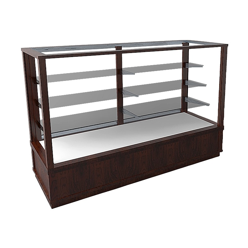 Cherry Extra Vision Classic Rectangle Horizontal Display Case With A Pull Out Deck