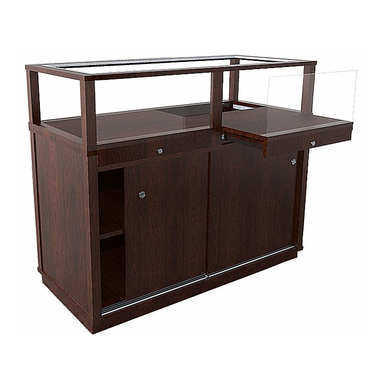 Jewelry Vision Classic Rectangle Horizontal Display Case in Cherry Hardwood With Pull Out Deck Made By Display Smart