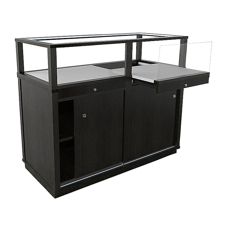 Jewelry Vision Classic Rectangle Horizontal Display Case in Black Lacquer With Pull Out Deck Made By Display Smart
