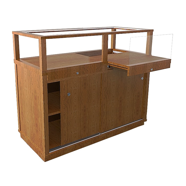 Jewelry Vision Classic Rectangle Horizontal Display Case in Red Oak With Pull Out Deck Made By Display Smart