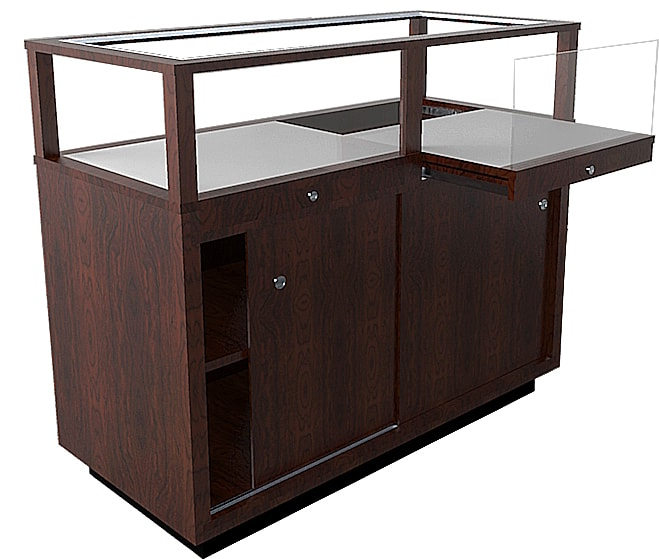 Jewelry Vision Contemporary Rectangle Horizontal Display Case With Two Pull Out Decks And In Cherry Stain