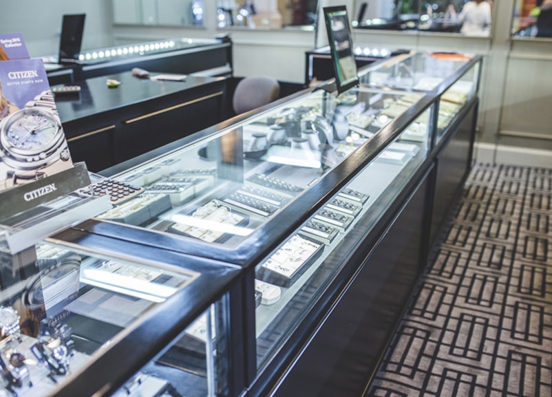 Custom Made Black Jewelry Vision Classic Rectangle Display Case For A Jewelry Store In Texas