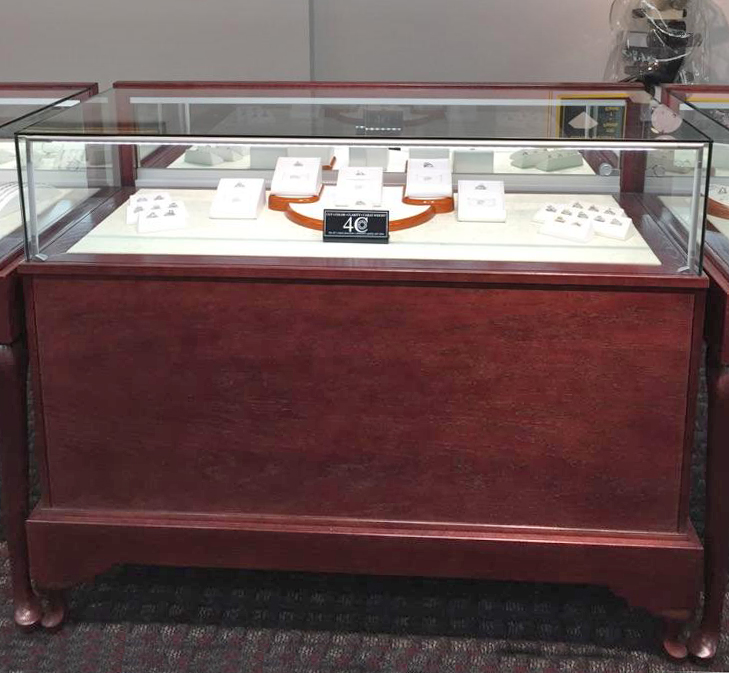 Jewelry Display Case Custom Made As A Glass On Glass Cherry Wood Display Case