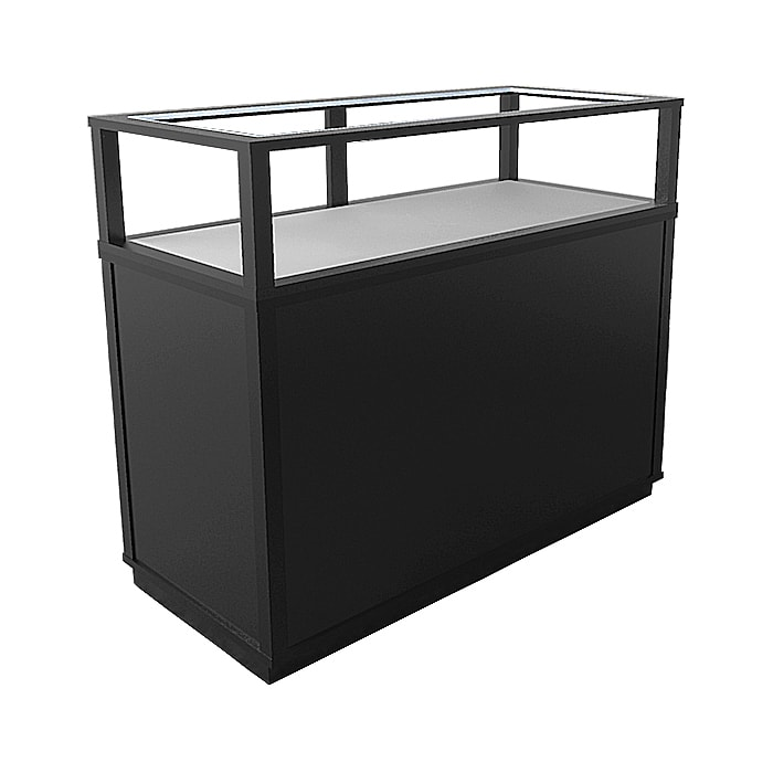 Jewelry Vision Classic Rectangle Horizontal Display Case in Black Lacquer Made By Display Smart