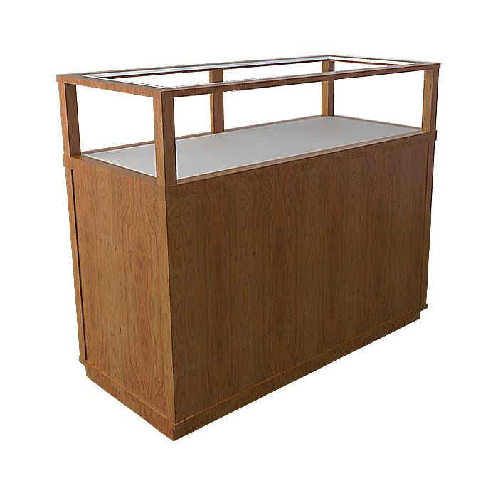 Jewelry Vision Classic Rectangle Horizontal Display Case in Red Oak Made By Display Smart